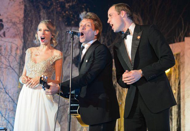 Winter Whites Centrepoint Gala, Kensington Palace, London, Britain - 26 Nov 2013 Prince William sings with Taylor Swift and Jon Bon Jovi