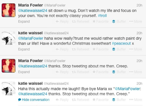 Maria Fowler and Katie Waissel's war of words on Twitter, 29 November 2013