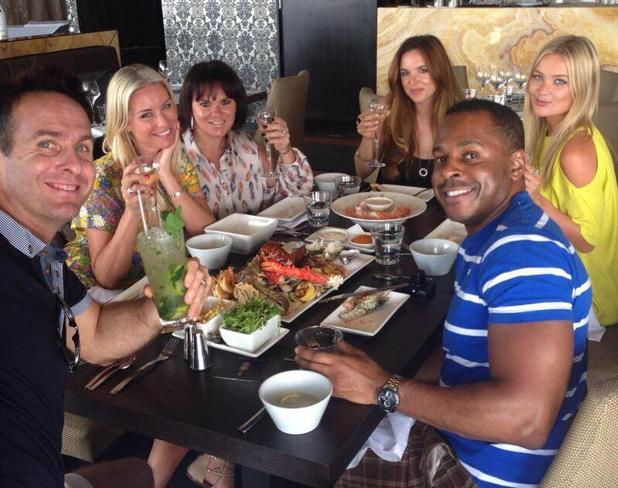 Jodi Albert joins Denise Van Outen, Andi Peters, Laura Whitmore for lunch in I'm a Celebrity 2013