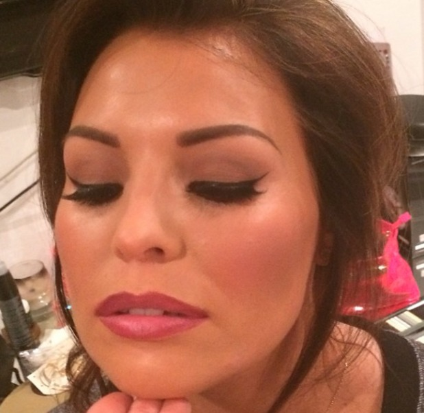 Jessica Wright shows off her TOWIE Christmas special make-up by Krystal Dawn, 26 November 2013
