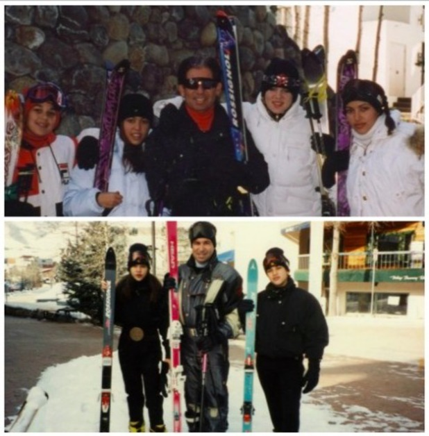 KIm Kardashian shares a picture of her family on a past Thanksgiving holiday skiing, 28 November 2013