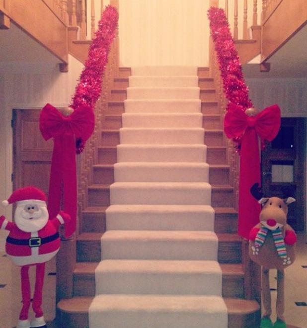 Danielle Lloyd shows off her Poundland Christmas bows - 24 November 2013