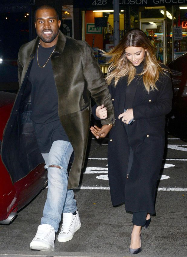 Kim Kardashian and Kanye West out and about in New York, America - 25 Nov 2013