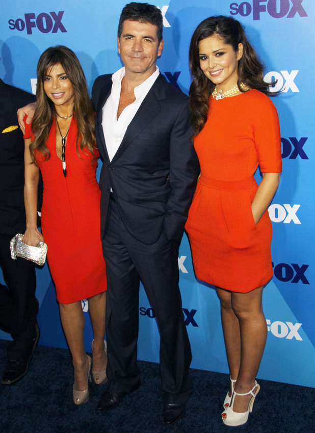 Paula Abdul, Simon Cowell and Cheryl Cole attend the USA X Factor launch, May 2011