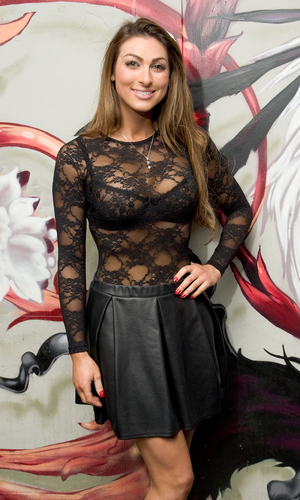 Luisa Zissman wearing a see through lace top arrives at Nick Ede's Style For Stroke Charity Event at INK LDN London - 12/04/2013.