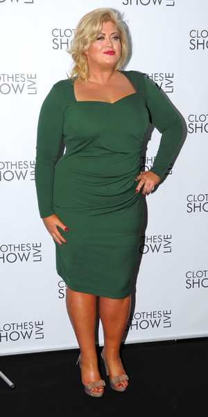 Gemma Collins looks gorgeous in green dress at day 2 of Clothes Show Live, Birmingham's NEC. 7 December 2013.