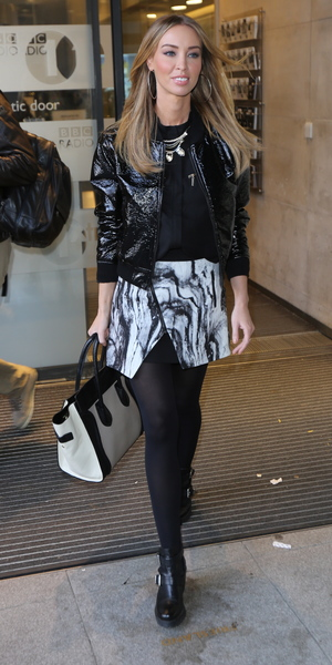 Lauren Pope arrives at Radio 1, 8 December 2013