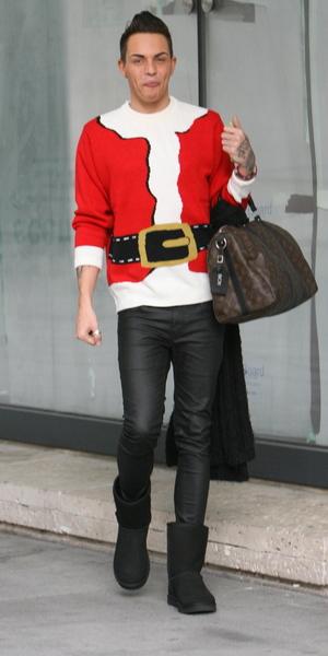 Bobby Norris arrives at Radio 1, 8 December 2013
