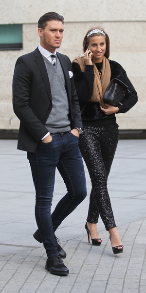 TOWIE's Ferne McCann and Charlie Sims arrive at Radio 1, 8 December 2013