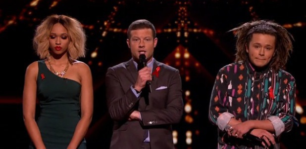 The X Factor's Dermot O'Leary, Tamera Foster and Luke Friend - 1.12.2013