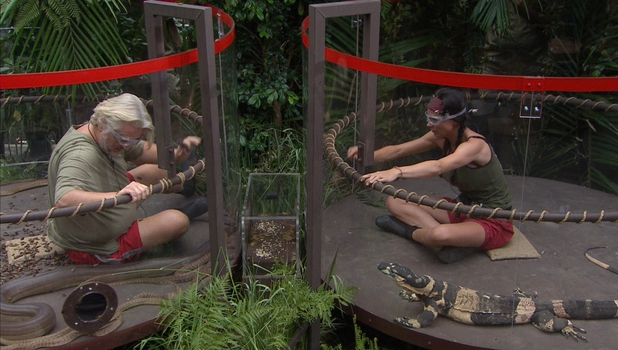Lucy Pargeter, Kian Egan and David Emanuel take part in I'm A Celebrity's BTT In A Spin, 7 December 2013