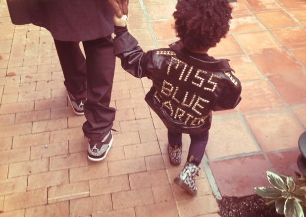 Beyonce posts photo of Blue Ivy's personalised jacket. (4 December).
