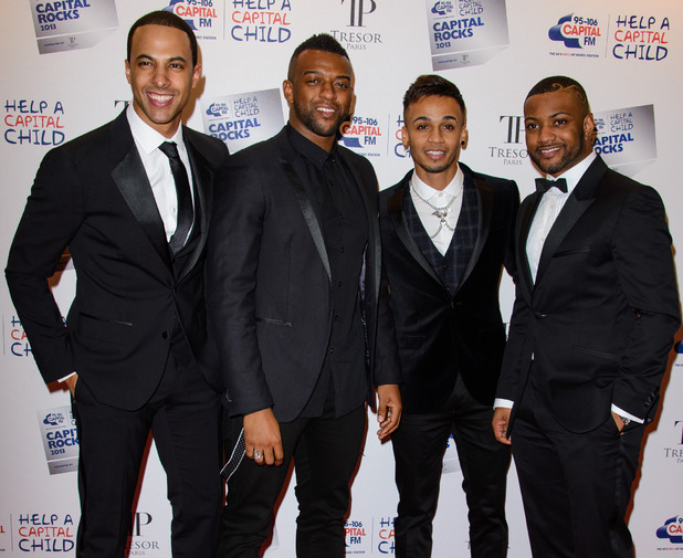 JLS at the Capital Rocks 2013 Fundraiser at the Roundhouse - Arrivals. 11/28/2013. Marvin Humes, Aston Merrygold, JB Gill and Oritsé Williams.