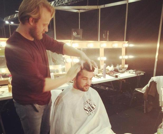 Ricky Rayment getting a haircut backstage at Clothes Show Live at Birmingham's NEC - Day 1 12/06/2013. Birmingham, United Kingdom
