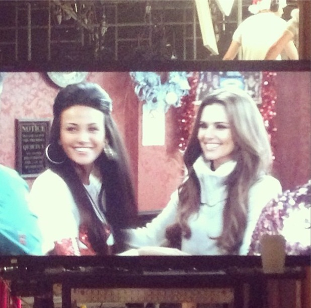 Michelle Keegan and Cheryl Cole film Coronation Street together - 5 December 2013