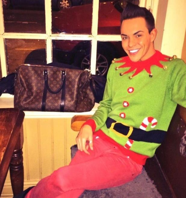 TOWIE's Bobby Norris wears an elf Christmas jumper - 3 December 2013