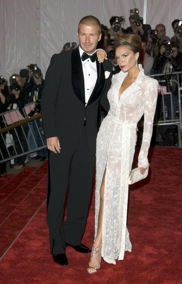 David Beckham and Victoria Beckham at the 'Superheroes: Fashion and Fantasy' Costume Institute Gala, New York 5 May 2008