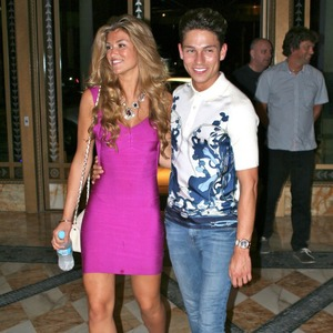Amy Willerton and Joey Essex outside a hotel in Australia after their first date 9 Dec 2013
