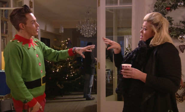 Gemma Collins and Bobby Norris argue in the festive special of The Only Way is Essexmas.