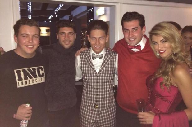 Joey Essex, Tom Pearce, James 'Diags' Bennewith, Amy Willerton and James 'Arg' Argent at Joey's welcome home party. 12 December.