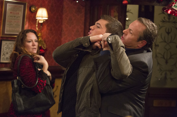 EastEnders, David protects Janine, Mon 16 Dec