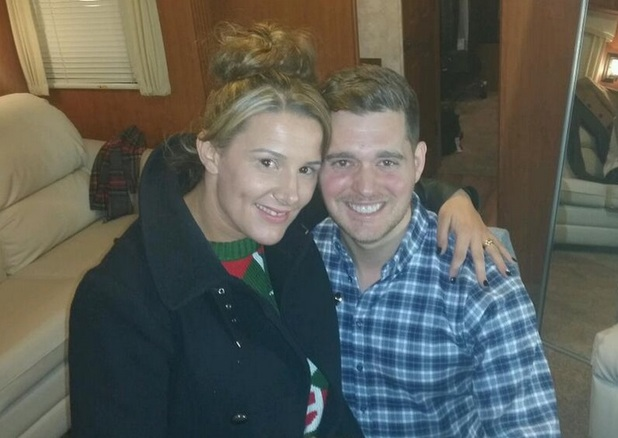 Sam Bailey meets Michael Buble backstage at X Factor, 8 December 2013