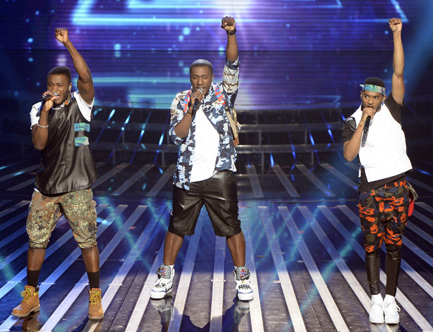 'The X Factor' TV show, London, Britain - 07 Dec 2013 Rough Copy - Kazeem Ajobe, Joey James and Sterling Ramsey