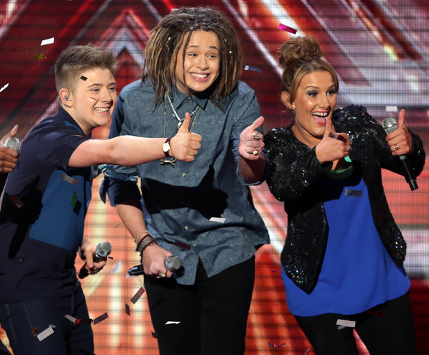 The X Factor' TV show, London, Britain - 08 Dec 2013 Finalists - Luke Friend, Sam Bailey and Nicholas McDonald