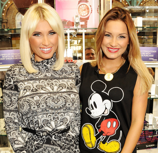 Sam and Billie Faiers at the Casio Sheen store in London's Covent Garden, December 2013 [publicity shot - one use only]