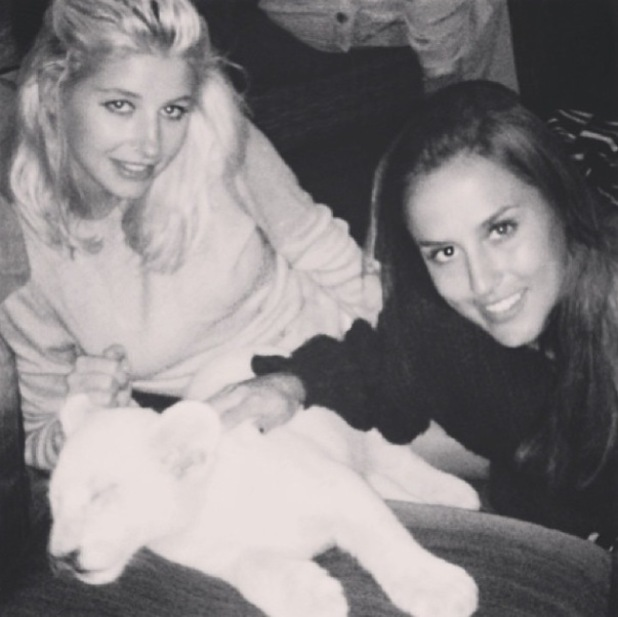 Made In Chelsea's Lucy Watson, Binky Felstead and Phoebe-Lettice Thompson meet lion cubs in South Africa - December 2013