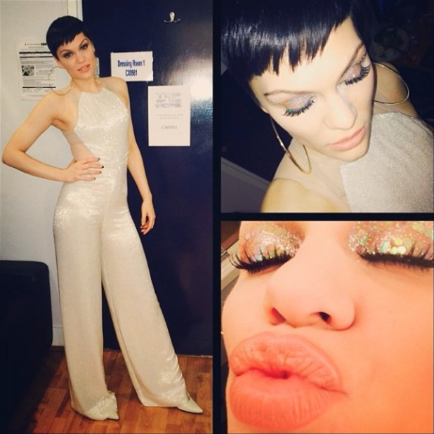 Jessie J shows off her glittery eye make-up ahead of her performance on Top of the Pops Christmas/New Year special, 7 December 2013