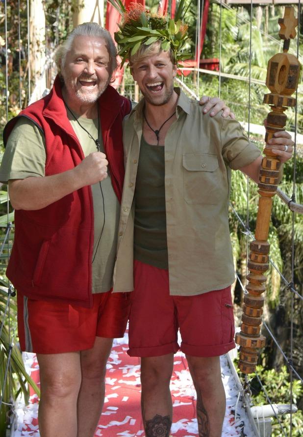 Runner up David Emanuel and winner Kian Egan at the 'Iacgmooh' jungle camp, I'm A Celebrity 2013, 8 December