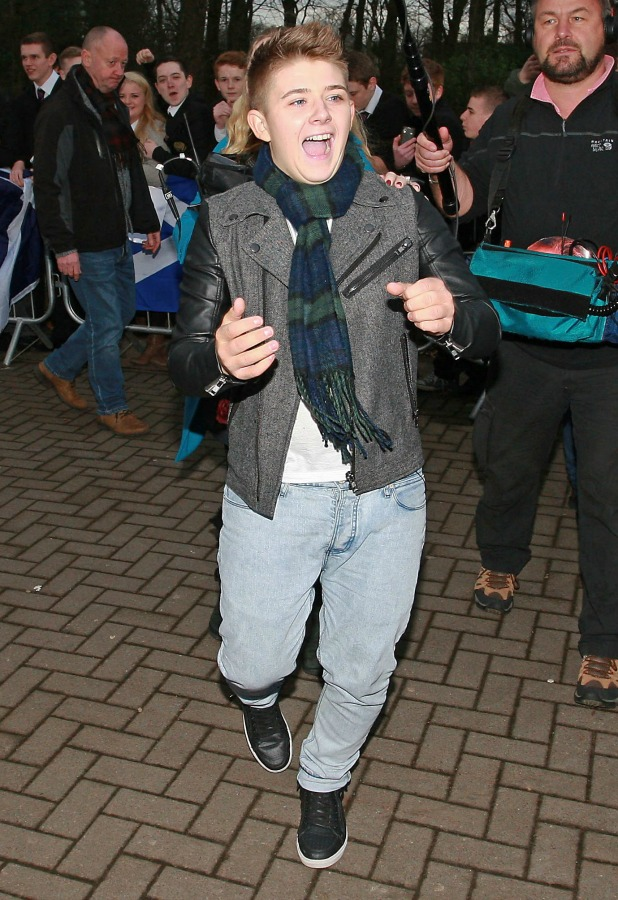 The X Factor finalist Nicholas McDonald arriving at his school, St Aiden's Academy in his hometown of Wishaw, Scotland, Britain - 10 Dec 2013