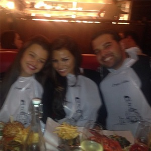 TOWIE's Jessica Wright and Ricky Rayment enjoy family dinner with sister Natalya to celebrate Big Mark's birthday. (19 December 2013).