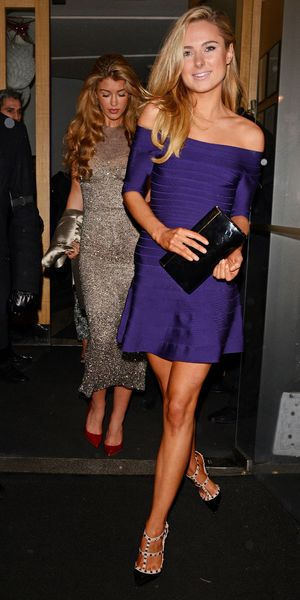 Helen Flanagan dines with Amy Willerton at the Nobu Berkeley restaurant, London - 20 Dec 2013