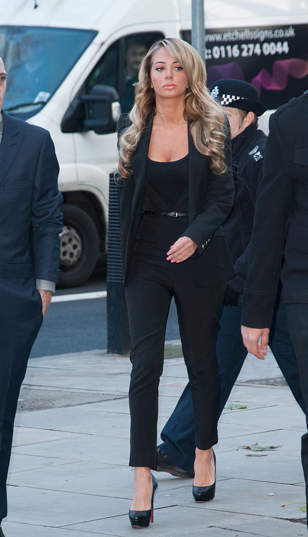 Tulisa Contostavlos appears at Westminster Magistrates Court charged with being concerned in the supply of Class A drugs - 19.12.2013