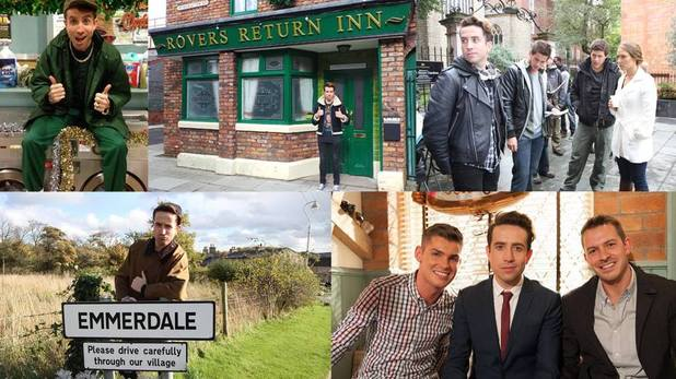 Nick Grimshaw makes a cameo appearance in EastEnders, Coronation Street, Hollyoaks and Emmerdale.