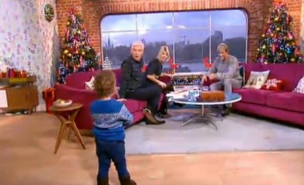 Kian Egan's son Koa joins him during This Morning interview, 17 December 2013