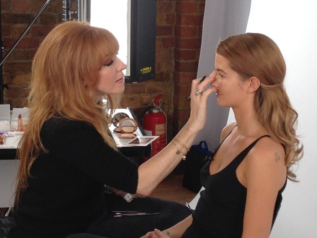 Millie Manderson having her 'The Bombshell' makeover with Charlotte Tilbury, 18 December 2013