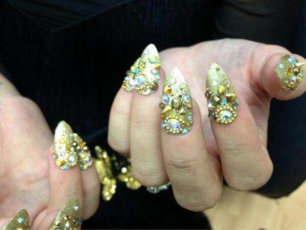 Lily Allen's gold, studded nails created by Michelle Humphrey for Hard Out Here music video, 25 November 2013