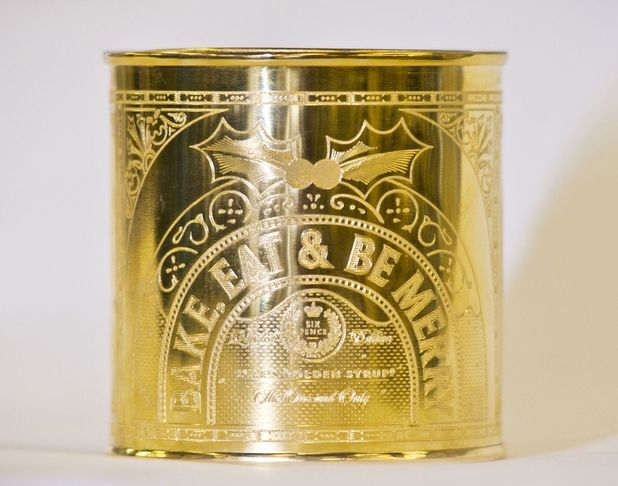 yle's Golden Syrup auctioning off limited edition, gold-plated version for charity, Britain - 16 Dec 2013 Gold-plated version Lyle's Golden Syrup 16 Dec 2013