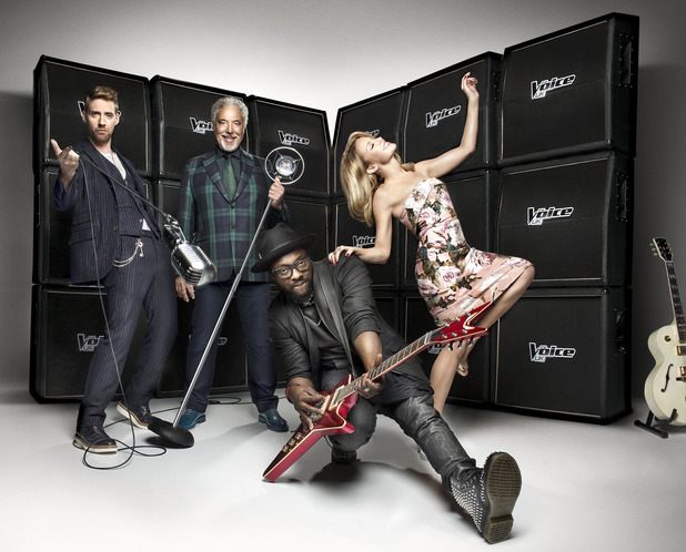 Promo photo of The Voice judges: Ricky Wilson, Sir Tom Jones, will.i.am, Kylie Minogue (19 December).