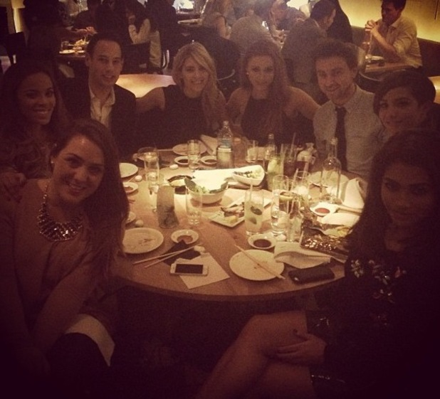 The Saturdays' Mollie King, Una Foden, Rochelle Humes, Frankie Sandford and Vanessa White enjoy Christmas dinner at Nobu - 18 December 2013