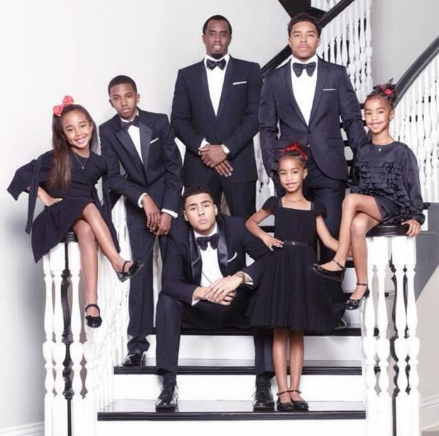 Diddy shares Christmas card with his children Quincy, Justin, Christian, Chance, D'Lila and Jessie. December 2013