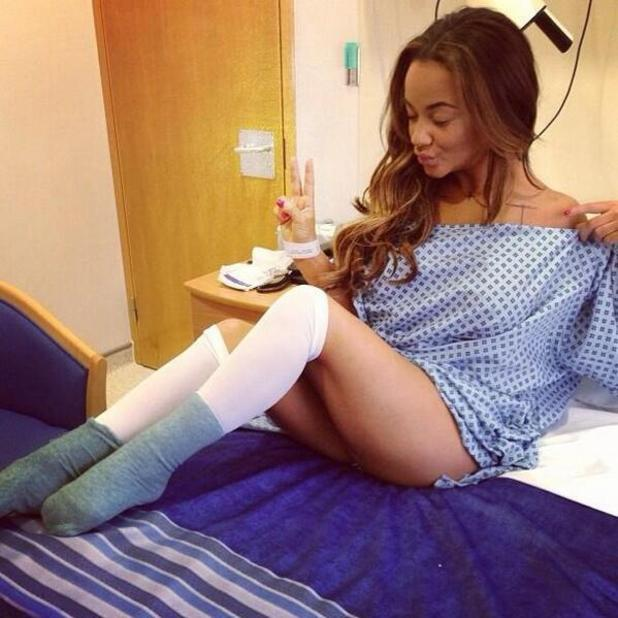 Chelsee Healey shared picture on Twitter of her hospital stay for a breast reduction, 22 December 2013