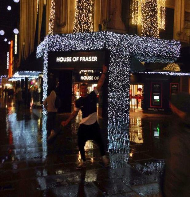 TOWIE's Dan Osborne in the rain in London - 18.12.2013