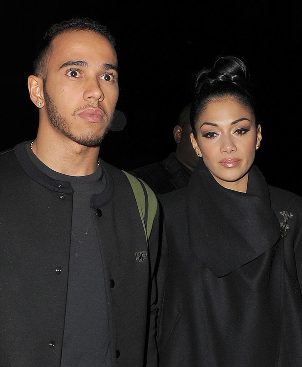 Nicole Scherzinger and boyfriend Lewis Hamilton leaving Zuma restaurant in Knightsbridge, just before midnight, following a late dinner. London, England - 10.12.12