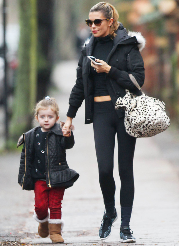 Abbey Clancy and daughter Sophia out and about in London - 17 December 2013