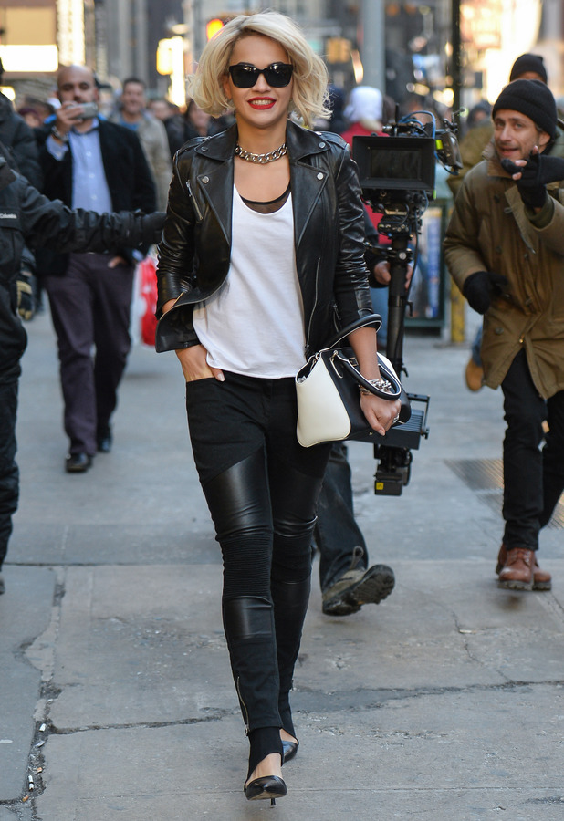 Rita Ora shoots DKNY commercial in Times Square, New York - 16 December 2013