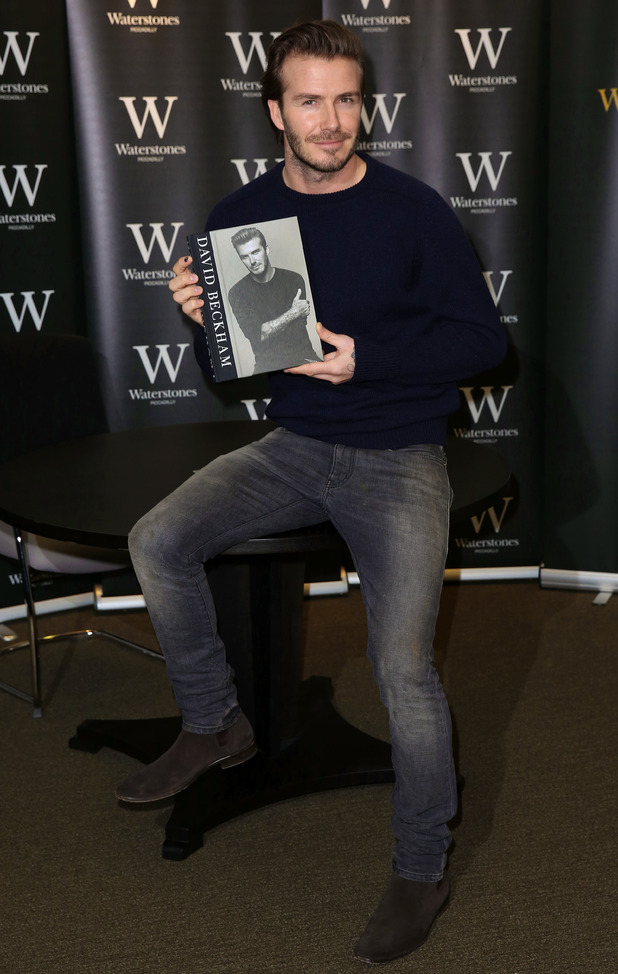 David Beckham signs copies of his new book entitled 'David Beckham' at Waterstones Piccadilly 19/12/2013.
